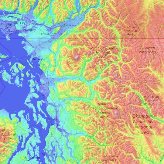 Skagit County topographic map, relief map, elevations map