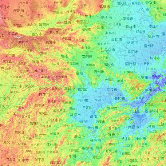 Hubei topographic map, relief map, elevations map