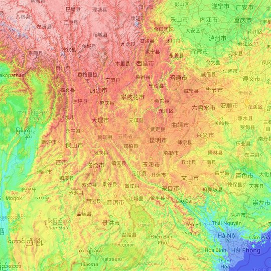 Yunnan topographic map, elevation, relief