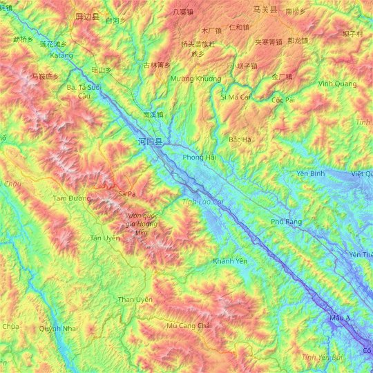 Lao Cai province topographic map, relief map, elevations map