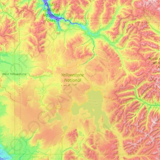 Yellowstone National Park topographic map, relief map, elevations map