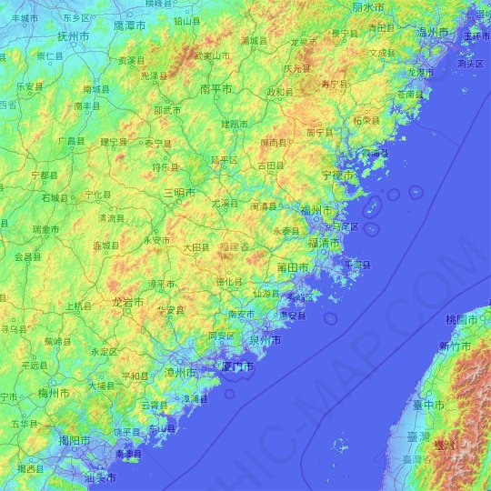 Fujian topographic map, relief map, elevations map