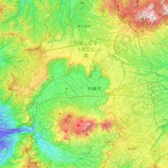 Aso topographic map, elevation, relief