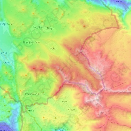 Ubla topographic map, relief map, elevations map
