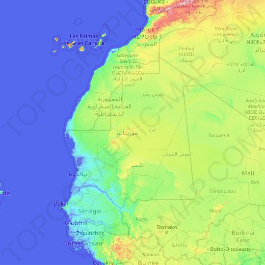 Mauritania topographic map, relief map, elevations map
