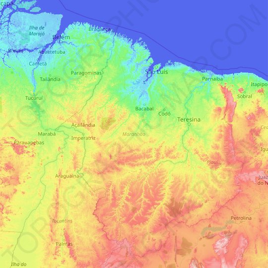 Maranhão topographic map, relief map, elevations map