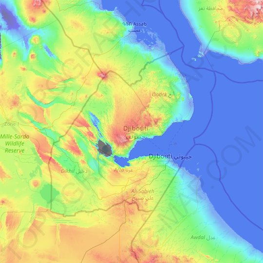 Djibouti topographic map, relief map, elevations map