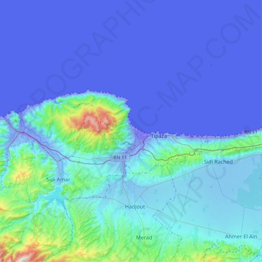 Tipaza topographic map, relief map, elevations map