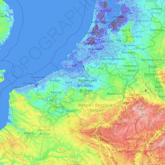 Flanders topographic map, relief map, elevations map