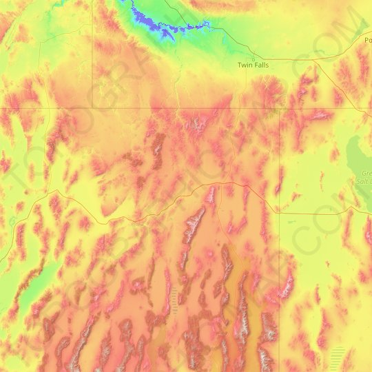 Elko County topographic map, relief map, elevations map