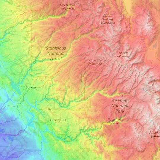 Tuolumne County topographic map, elevation, relief