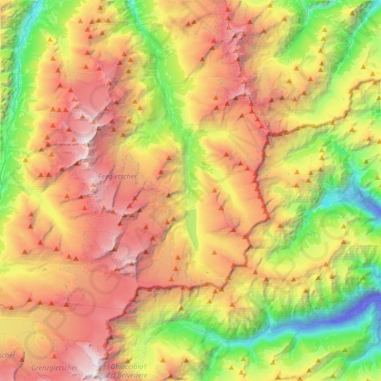 Saas-Almagell topographic map, relief map, elevations map