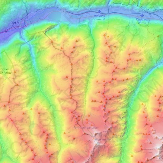 Oberems topographic map, relief map, elevations map