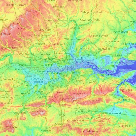 Greater London topographic map, elevation, relief