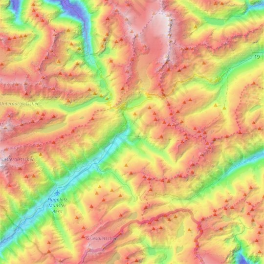 Obergoms topographic map, relief map, elevations map
