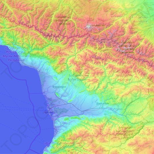 Samegrelo-Upper Svaneti topographic map, elevation, relief