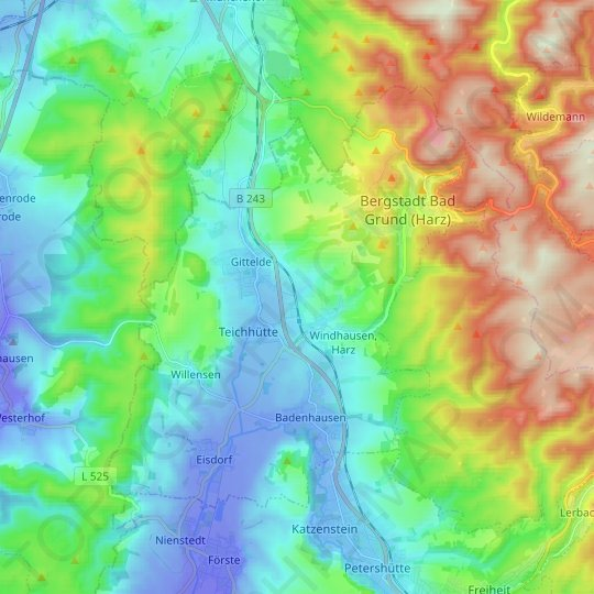 Bad Grund topographic map, relief map, elevations map