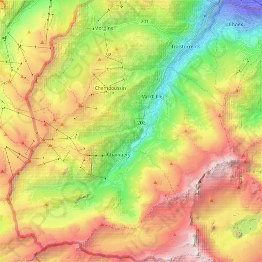 Val-d'Illiez topographic map, relief map, elevations map