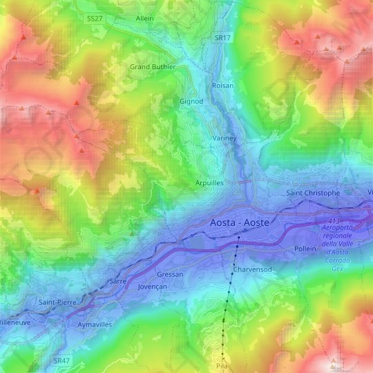 Aosta topographic map, relief map, elevations map