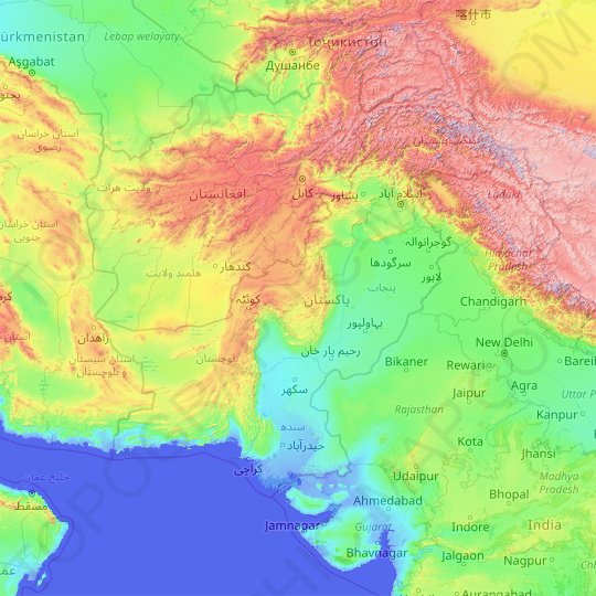 Pakistan topographic map, relief map, elevations map
