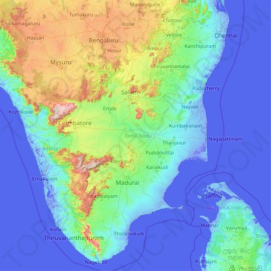 Tamil Nadu topographic map, relief map, elevations map