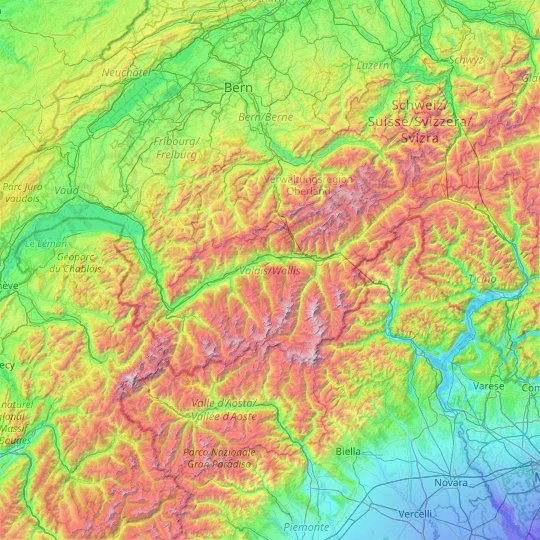 Valais/Wallis topographic map, relief map, elevations map