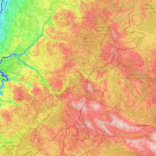 Vilnius County topographic map, relief map, elevations map