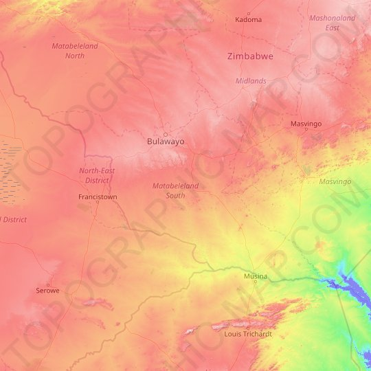 Matabeleland South topographic map, elevation, relief