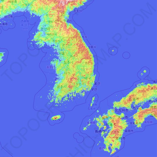 South Korea topographic map, elevation, relief