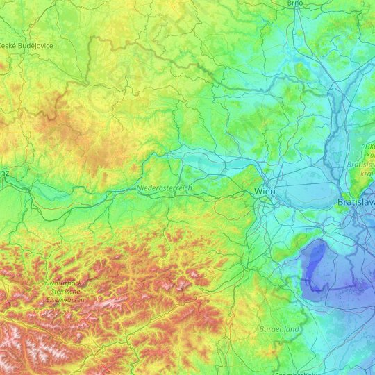 Lower Austria topographic map, relief map, elevations map