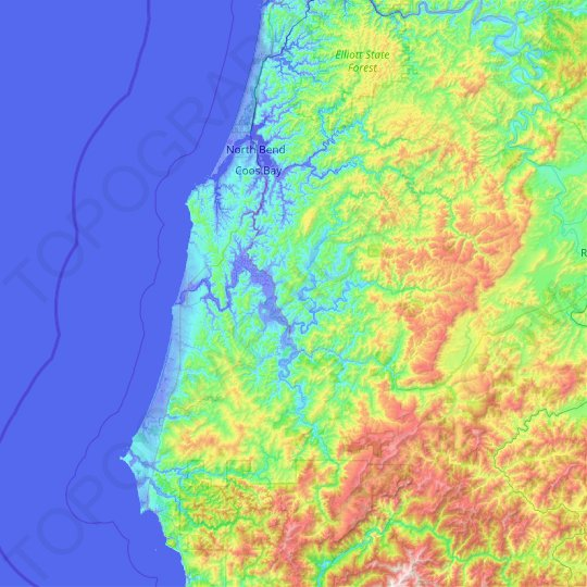 Coos County topographic map, relief map, elevations map