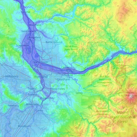 Multnomah County topographic map, relief map, elevations map