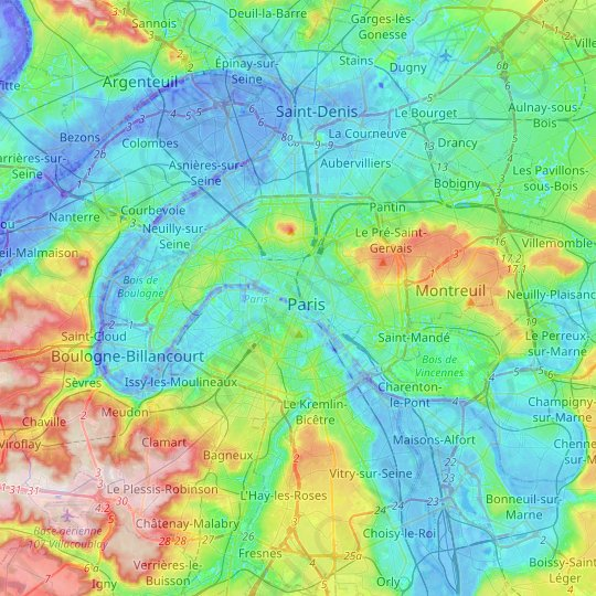 Paris topographic map, relief map, elevations map
