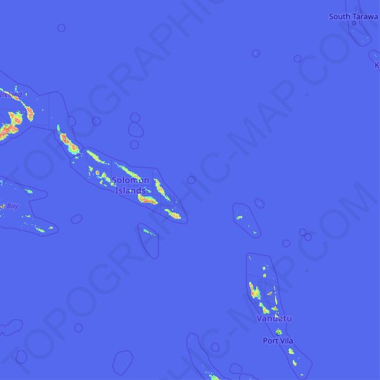 Solomon Islands topographic map, elevation, relief