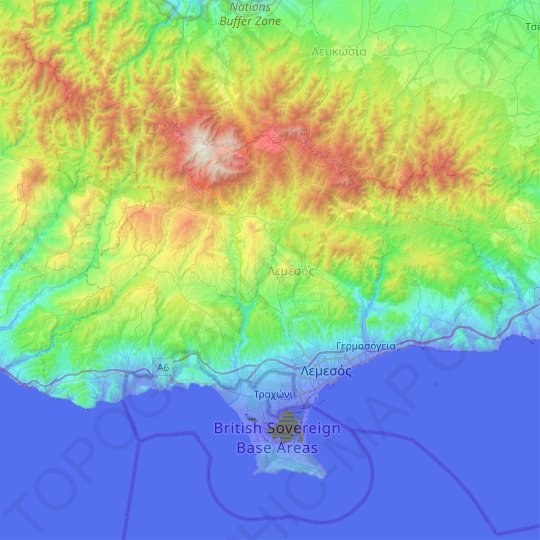 Limassol topographic map, relief map, elevations map