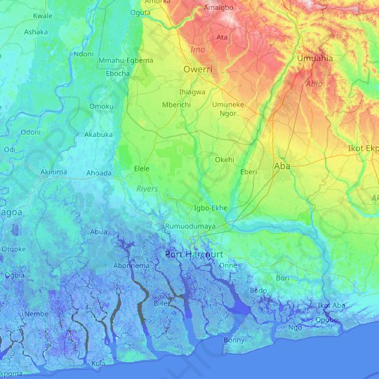 Rivers topographic map, relief map, elevations map