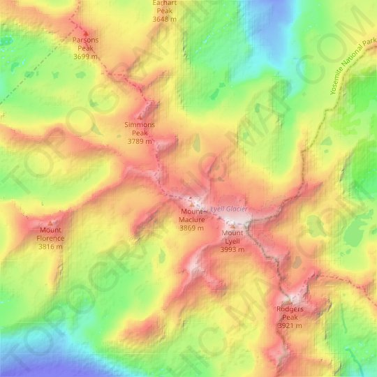 Maclure Glacier topographic map, relief map, elevations map