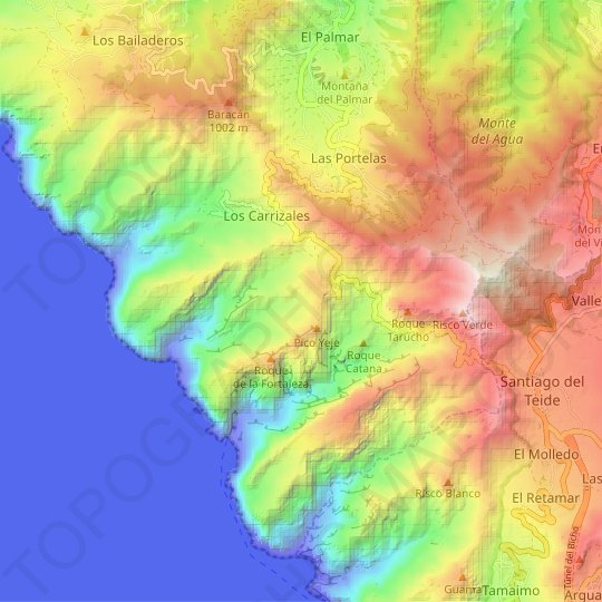 Los Hoyos topographic map, relief map, elevations map
