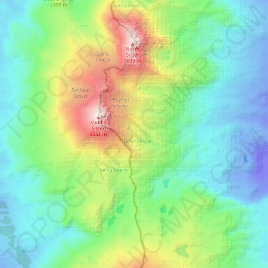 Diller Glacier topographic map, relief map, elevations map