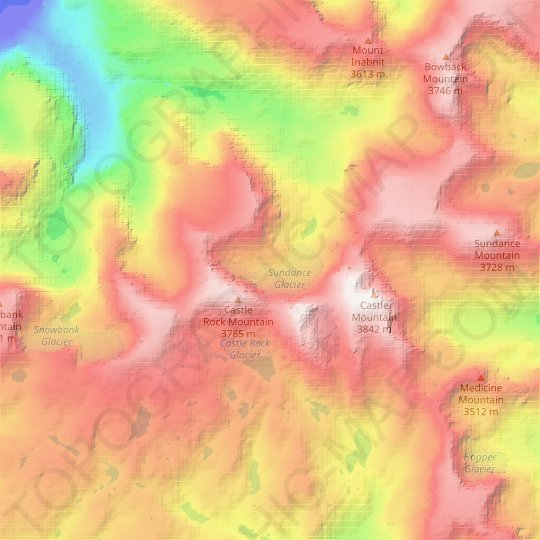 Sundance Glacier topographic map, relief map, elevations map