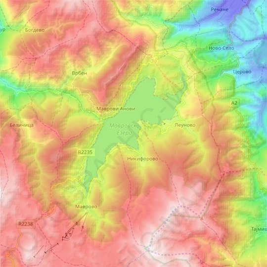 Mavrovo Lake topographic map, relief map, elevations map