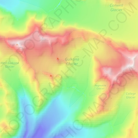 Gulkana Glacier topographic map, relief map, elevations map