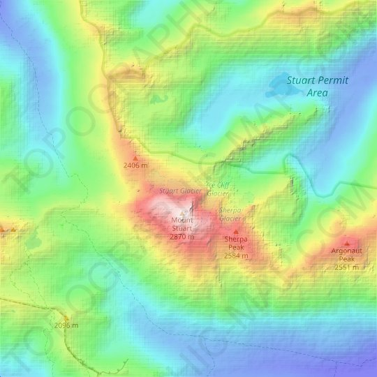 Stuart Glacier topographic map, relief map, elevations map
